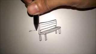 "CARA MENGGAMBAR KURSI TAMAN DARI HURUF ""L"" | HOW TO DRAW A BENCH FROM A LETTER ""L"""