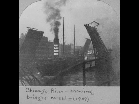 Historic Chicago River Early 1900s Shipping L Rush Street Drawbridge Lake Michigan