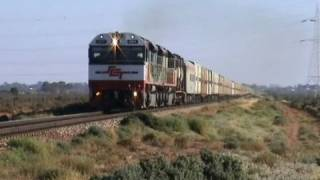 Australian trains ; The big white train approaching Port Augusta