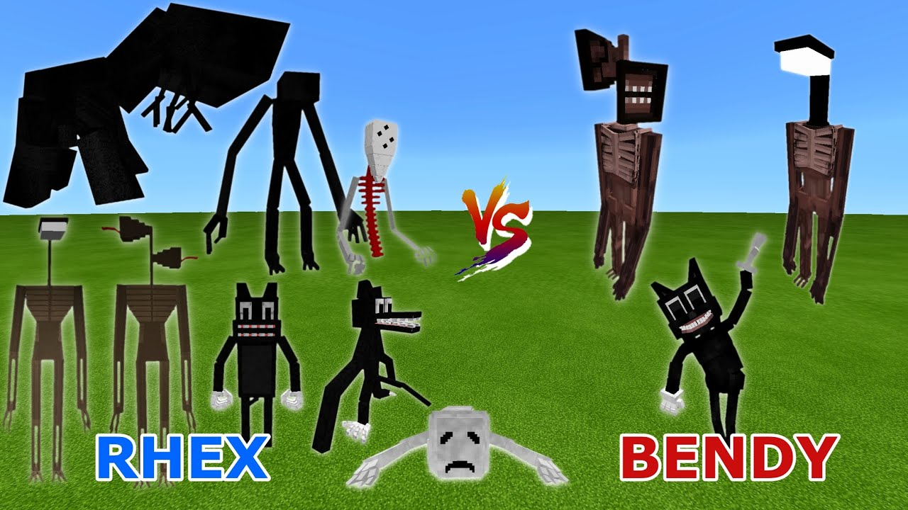 Trevor Henderson Creatures (Rhex) vs. Siren Head V2 & Cartoon Cat (BendyTheDemon18) in Minecraft PE