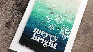 Gambar cover Holiday Card Series 2019 – Day 12 – Faux Dip Dye Watercolor & Snowflakes