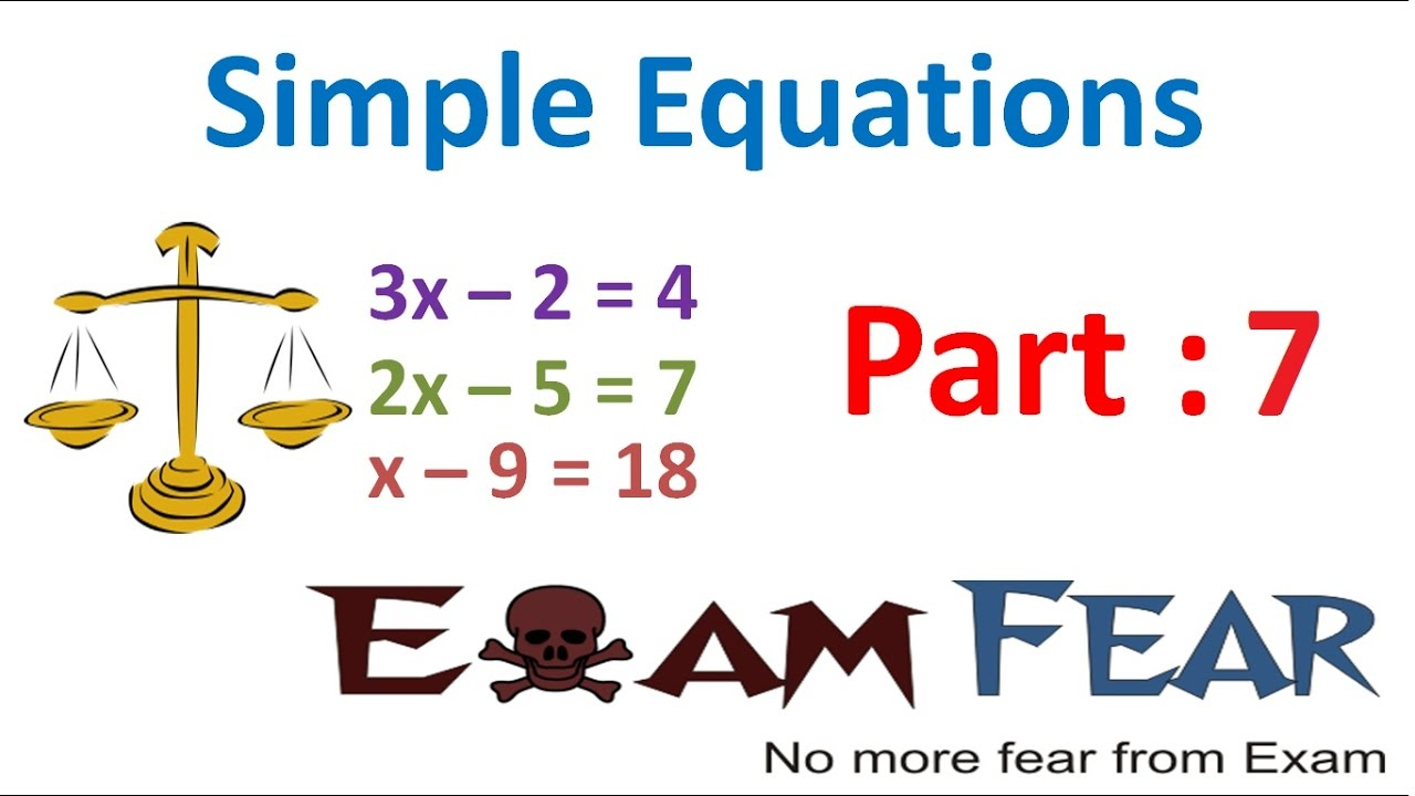 Maths Simple Equation part 7 (Questions 1: Solving Equation ) CBSE Class 7  Mathematics VII