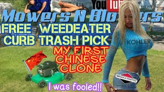 FREE WEEDEATER CHINESE CLONE PUSH LAWN MOWER CURB ALERT TRASH FIND PICK REAR WHEELS NUTS & BOLTS FIX