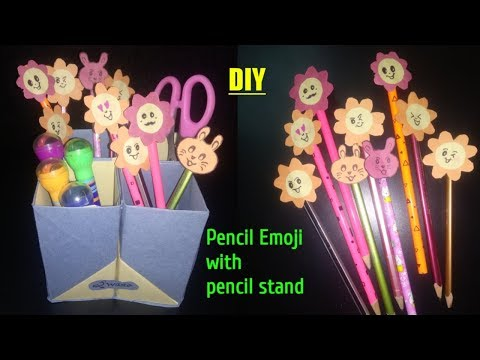 DIY | How to make a paper Pen Stand? (Pen Holder) | desk organizer with Pencil Emoji |