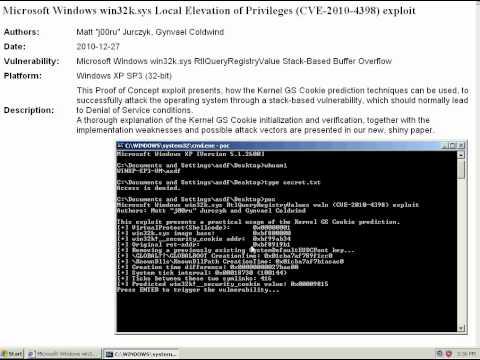 CVE-2010-4398 Windows XP win32k.sys exploit in action