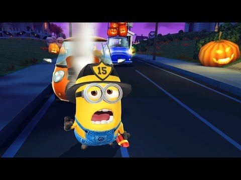 despicable-me-2---minion-rush-:-firefighter-minion-with-new-costume-!-collecting-halloween-candy