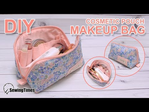 DIY Makeup pouch bag | 꽃무늬 메이크업 파우치 | Cosmetics bag tutorial - sewing pattern #sewingtimes - YouTube