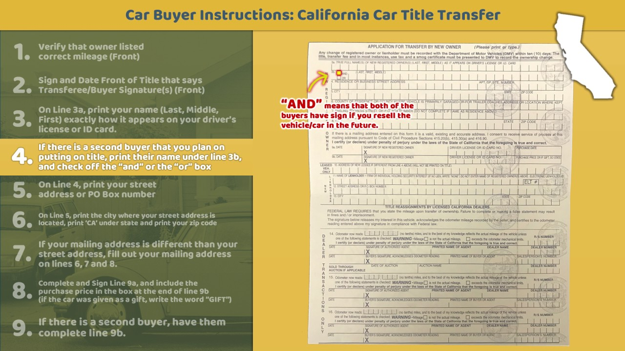 Transfer California Title Buyer Instructions Youtube