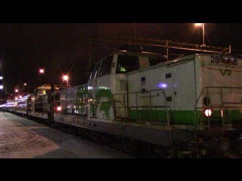 Night Express Trains At Oulu Station 1.1.2017