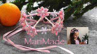 Канзаши Корона Тиара Новогодний Ободок МК Christmas Headband Kanzashi