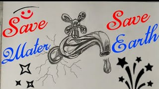 Save Water Drawing step by step || Save Water Drawing for kids ||