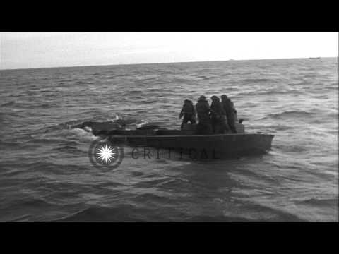 Coastguardsmen rescued from sinking Higgins boat during D-Day landings on Omaha B...HD Stock Footage