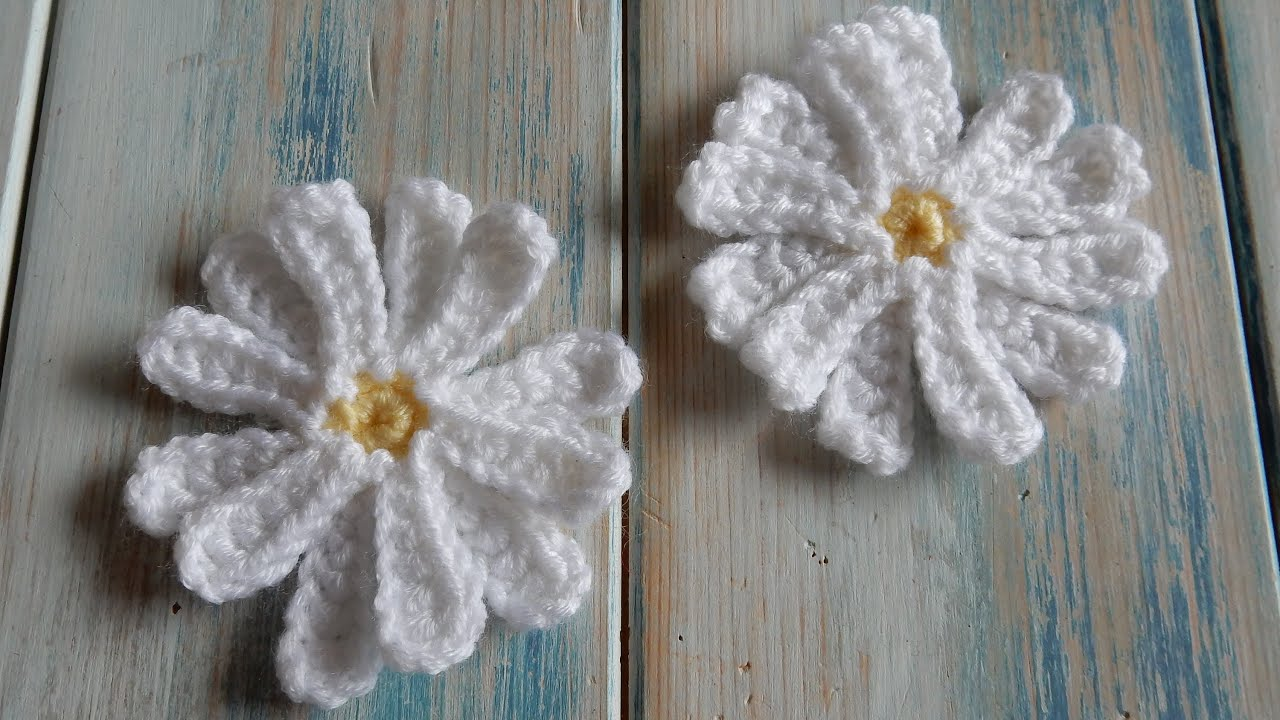 Crochet A Flower : How to Crochet a Daisy Flower - YouTube