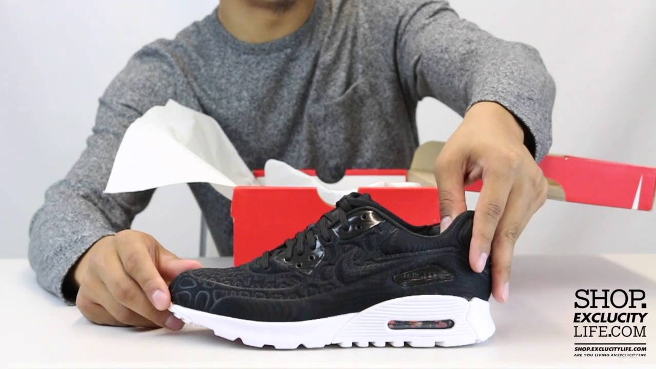 buy popular af2eb 8977a Women s Air Max 90 Ultra Plush SE Black White Unboxing Video at ...