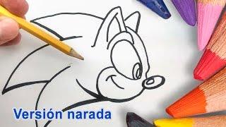 Como Dibujar a Sonic Paso a Paso a Lapiz Lento - How to Draw Sonic the hedgehog Step by Step Easy