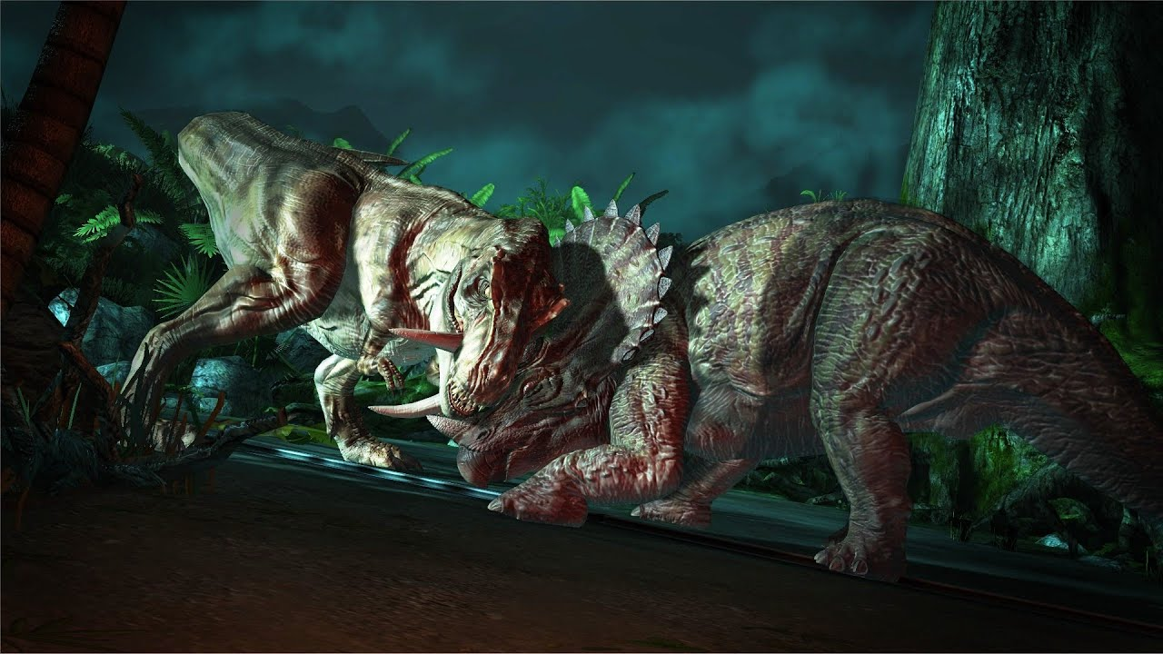 Jurassic Park: The Game - T Rex vs Triceratops - YouTube T Rex Vs Triceratops Fighting