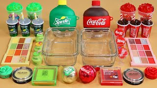 """Mixing""""SpriteVSCola"""" Eyeshadow and Makeup,parts,glitter Into Slime!Satisfying Slime Video!★ASMR★"""