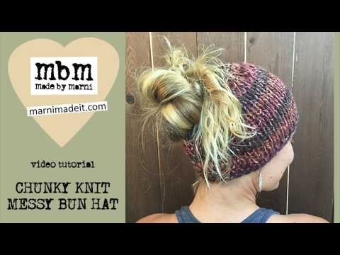 Knit a Chunky Messy Bun Hat