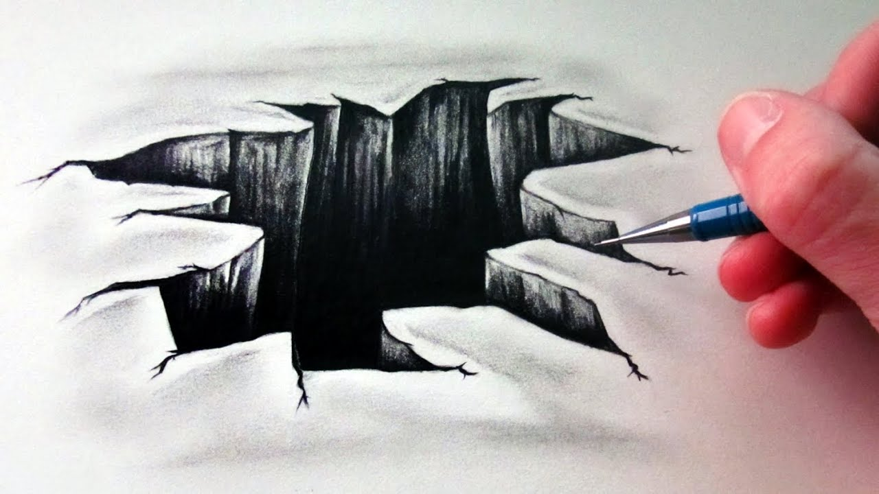 Steps How to Draw 3D Hole Drawing