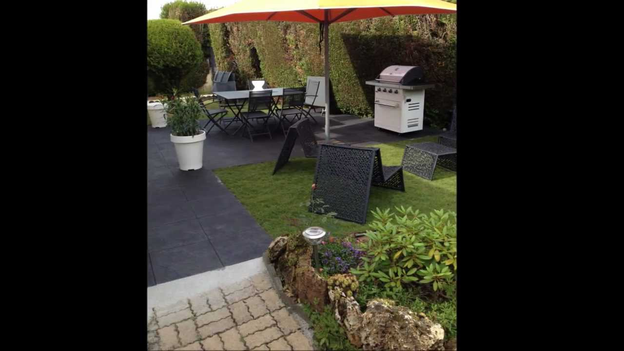 Renovation Terrasse Pose De Dalles Ardoise Gazon De Placage Www