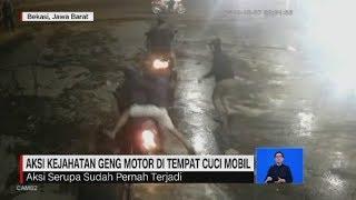 Aksi Kejahatan Geng Motor di Tempat Cuci Mobil