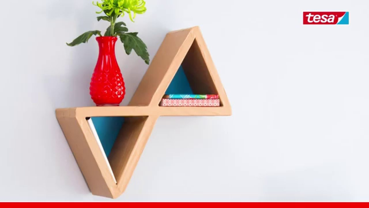 tesa emballer cr er votre tag re en carton youtube. Black Bedroom Furniture Sets. Home Design Ideas