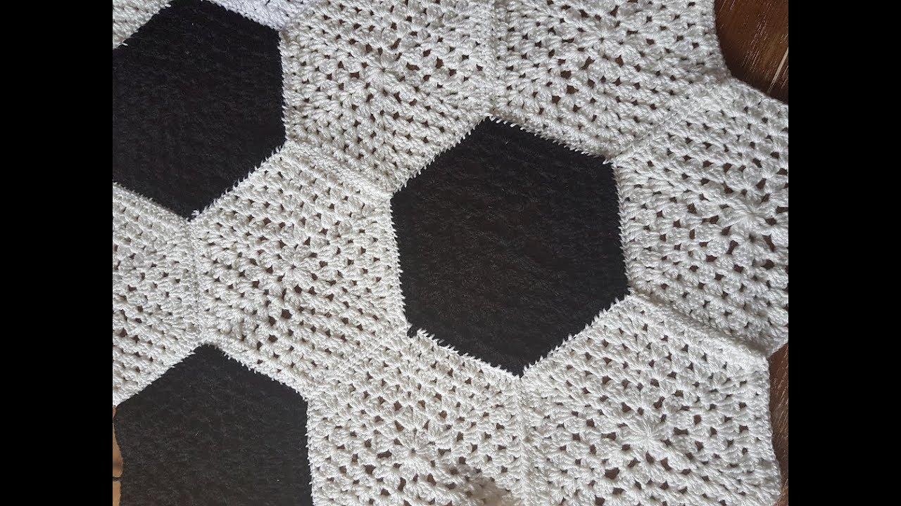 Hexagon Granny Square Fussballdecke häkeln Anleitung DIY - YouTube