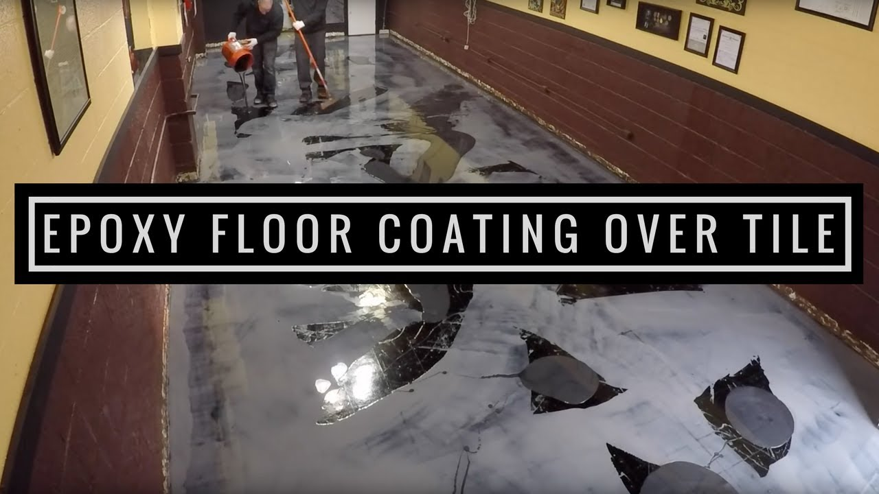 Metallic Epoxy Floor Coating Tutorial Over VCT Tile YouTube - Epoxy floor coating over asbestos tile