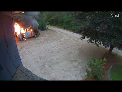 VW Westfalia camper van EXPLODES - after family escapes
