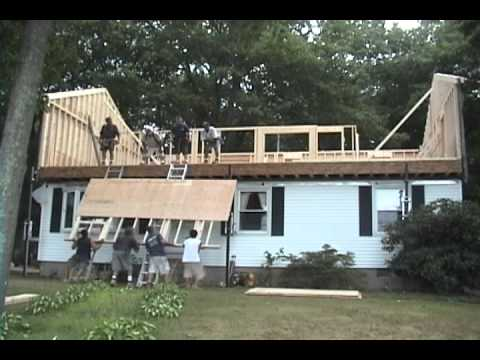 Raising the roof in 1 day youtube for Framing a second floor addition