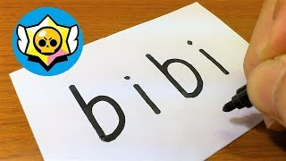 Very Easy ! How to turn words BIBI(Brawl Stars)into a Cartoon - doodle art on paper