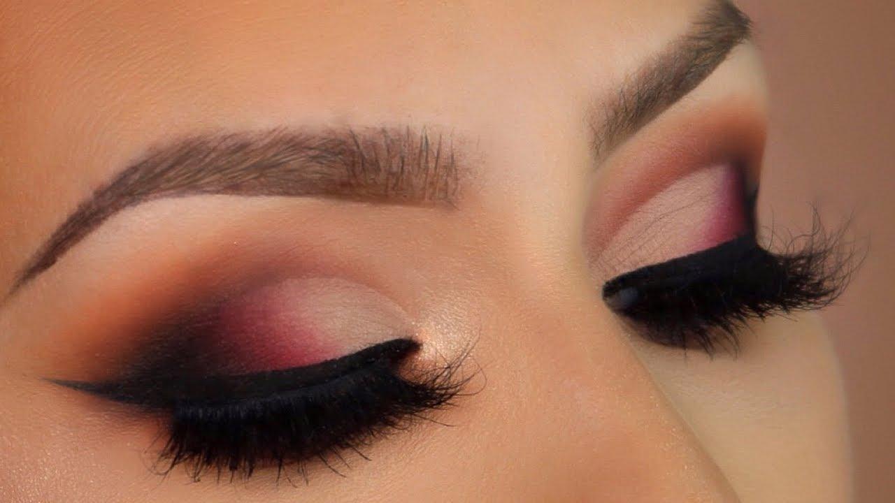 Red Smokey Eye Makeup Tutorial L Huda Beauty Rose Gold Palette Youtube