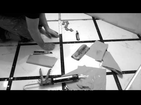 Black and White Bathroom Tile floor - Diagonal - Mosaic frame [Timelapse]
