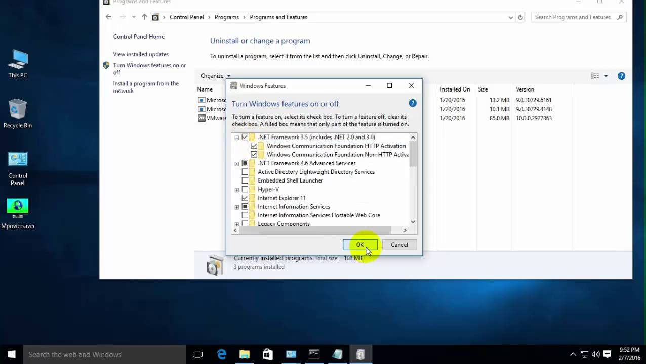 Windows 10 how to enable net framework 2. 0 and 3. 5 in windows 10.