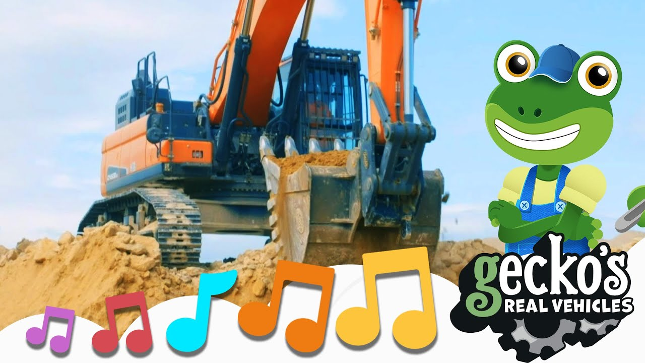 Excavator Song|NEW Kids Music|Gecko's Real Vehicles|Digger Song For Children|Trucks For Toddlers