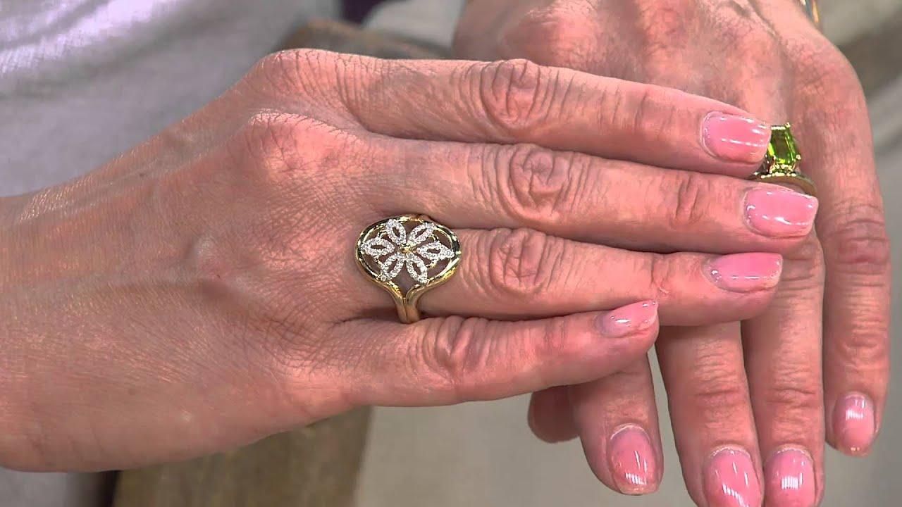 14K Gold 1/3 cttw Diamond Open Work Flower Ring with Antonella ...