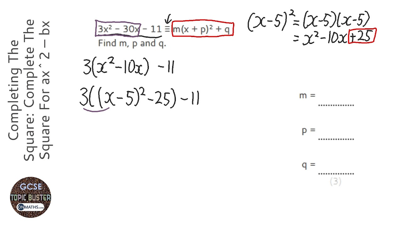 Completing The Square Complete The Square For Ax 2 Bx