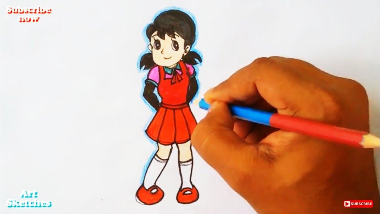 How to Draw Shizuka From Doraemon Step by Step Easy