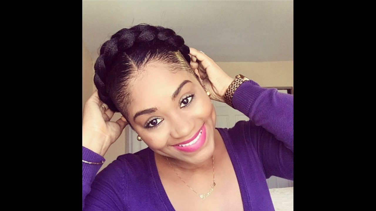 Halo Braid On Short Natural Hair Protective Style Youtube