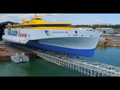 Launch of Austal Hull 394 – the 118 metre trimaran ferry 'Bajamar Express'