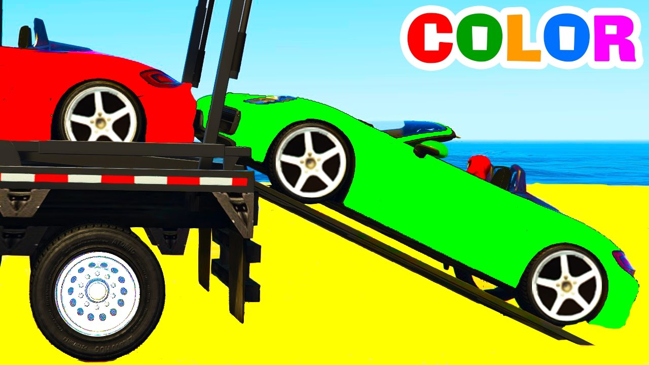 learn color car transportation w spiderman cars cartoon for
