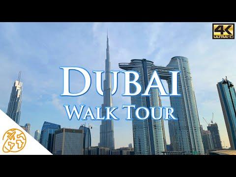 Dubai 4k City Tour Video Walk Walking Downtown Marina UAE