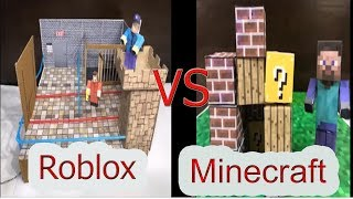 Minecraft vs Roblox. Cardboard game.