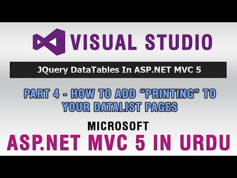 ASP.NET MVC 5 Tutorial In Urdu - How To Add Printing Functionality In DataList Pages
