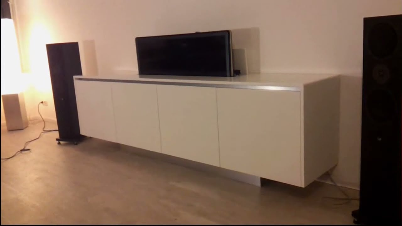 Tv Meubel Lift.Tv Meubel Dressoir Met Tv Lift Youtube