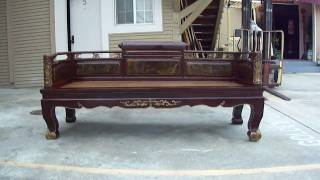 Gorgeous Chinese Antique Scrolled Gold Carving Rattan Day Bed Wk1657