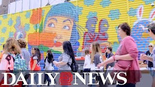 Artists create colorful murals near World Trade Center & Oculus