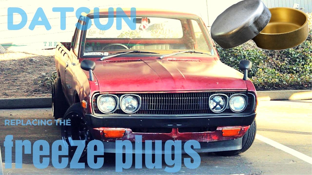 Datsun 620 pickup-replacing the freeze plugs - YouTube