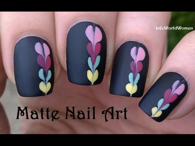 Matte Nail Art Black Nails With Colorful Needle Dotting Tool