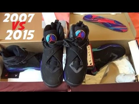 f123ac70c2eb 2007 VS 2015 Air Jordan Aqua 8 VIII Retro Shoe Comparison With Dj Delz
